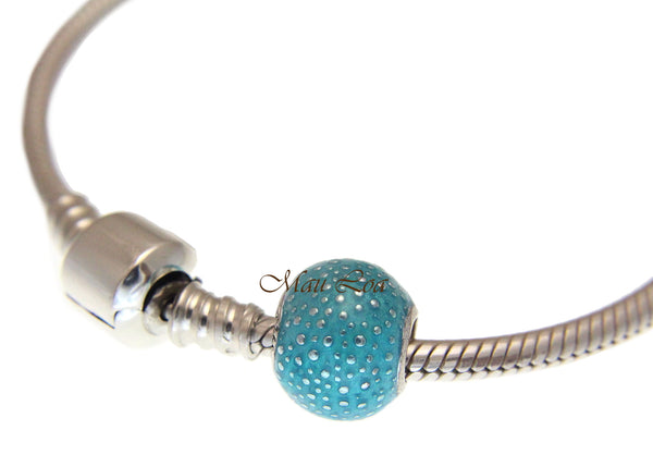 925 Sterling Silver Hawaiian Ocean Blue Ball European Bracelet Charm Bead