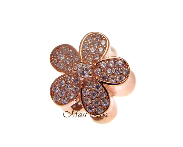 925 Sterling Silver Hawaiian Rose Gold Plumeria Flower European Bracelet Charm Bead