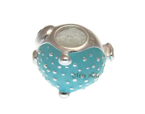 925 Sterling Silver Hawaiian Blue Cute Puffer Fish European Bracelet Charm Bead