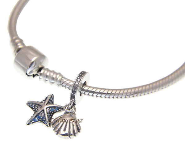 925 Sterling Silver Hawaiian Shell Star Fish European Bracelet Charm Bead