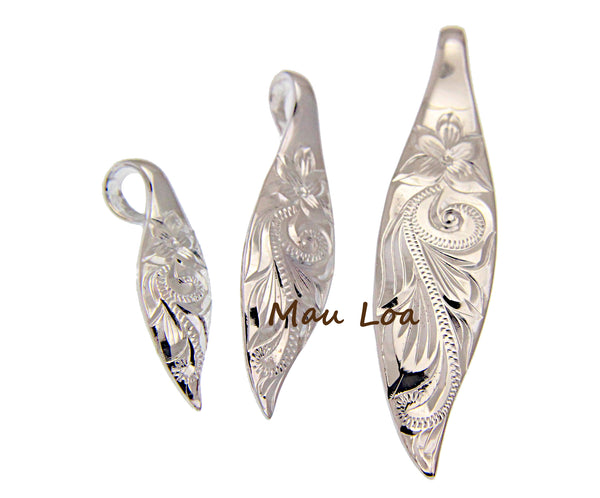 925 Sterling Silver 3 in 1 Hawaiian Engraved Plumeria Scroll Surfboard Pendant
