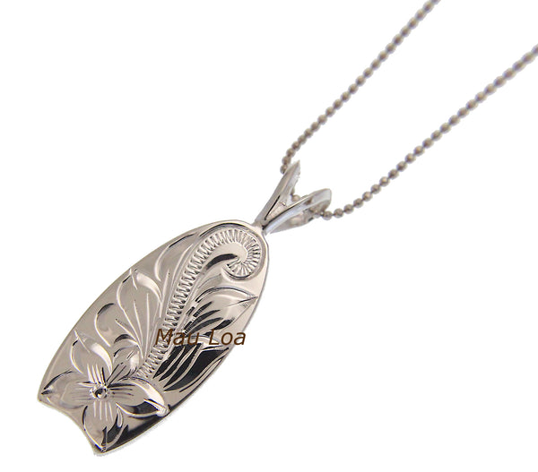 925 Sterling Silver Hawaiian Engraved Plumeria Flower Scroll Surfboard Pendant
