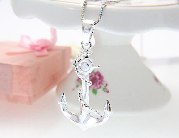 925 Sterling Silver Hawaiian Scroll Engraved Anchor Pendant