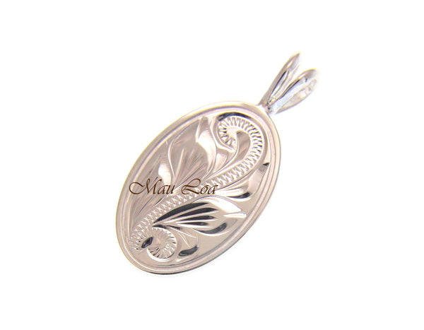 925 Sterling Silver Hawaiian Scroll Engraved Oval Plate Pendant Charm