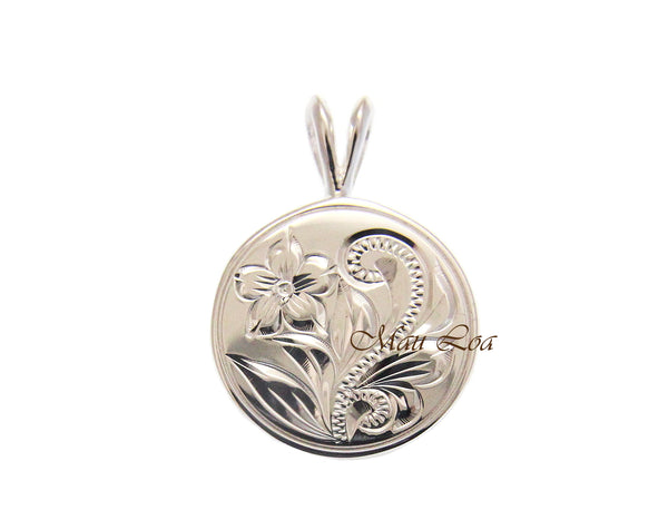 925 Sterling Silver Hawaiian Engraved Plumeria Flower Scroll Circle Pendant