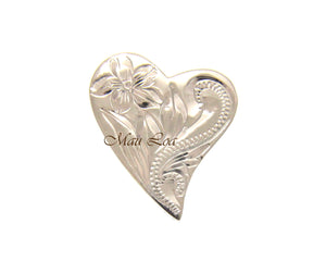 925 Sterling Silver Hawaiian Engraved Plumeria Flower Scroll Heart Pendant