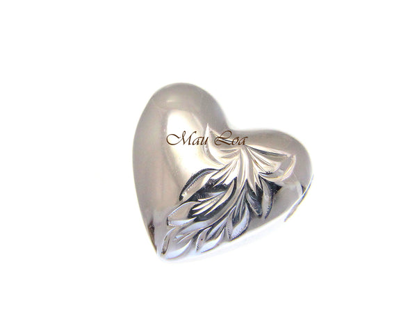 925 Sterling Silver Hawaiian Scroll Engraved Heart Slider Pendant Charm