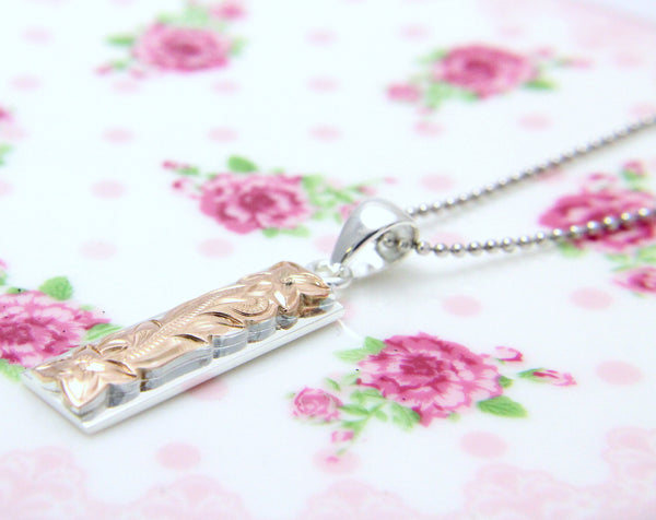 925 Sterling Silver Hawaiian Scroll Engraved Rose Gold Plated Vertical Pendant