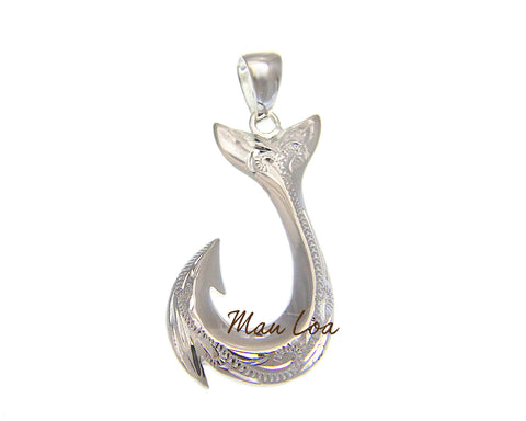 925 Sterling Silver Hawaiian Scroll Engraved Fish Hook Whale Tail Pendant Charm