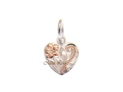 925 Silver Rose Gold 2T Hawaiian Plumeria Scroll Double Sided Heart Pendant