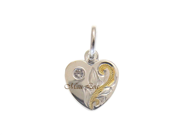 925 Silver Yellow Gold 2T Hawaiian Plumeria Scroll Double Sided Heart CZ Pendant