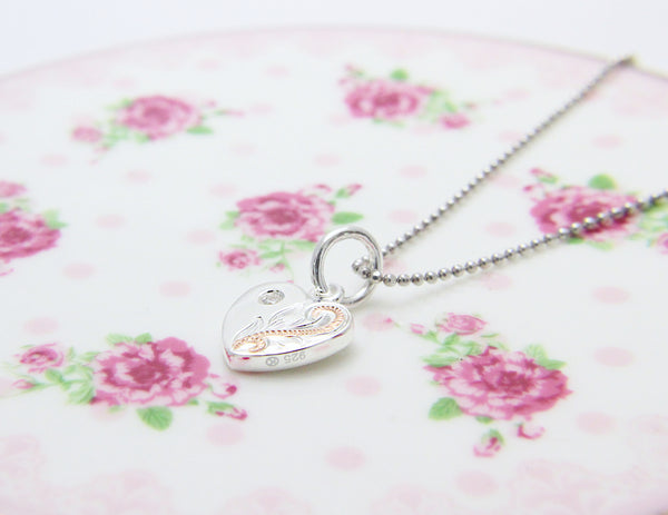 925 Silver Rose Gold 2T Hawaiian Plumeria Scroll Double Sided Heart CZ Pendant