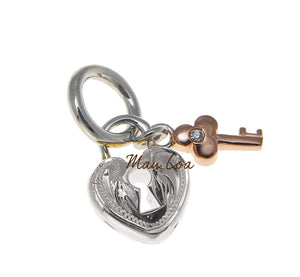 925 Sterling Silver Hawaiian Scroll Heart Lock Rose Gold Plated 2T Key Pendant