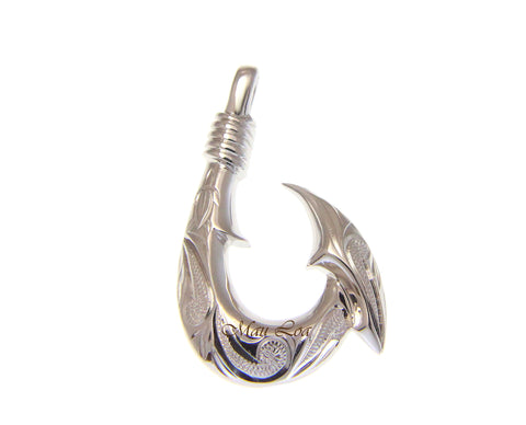 925 Sterling Silver Hawaiian Scroll Engraved Fish Hook Pendant Charm