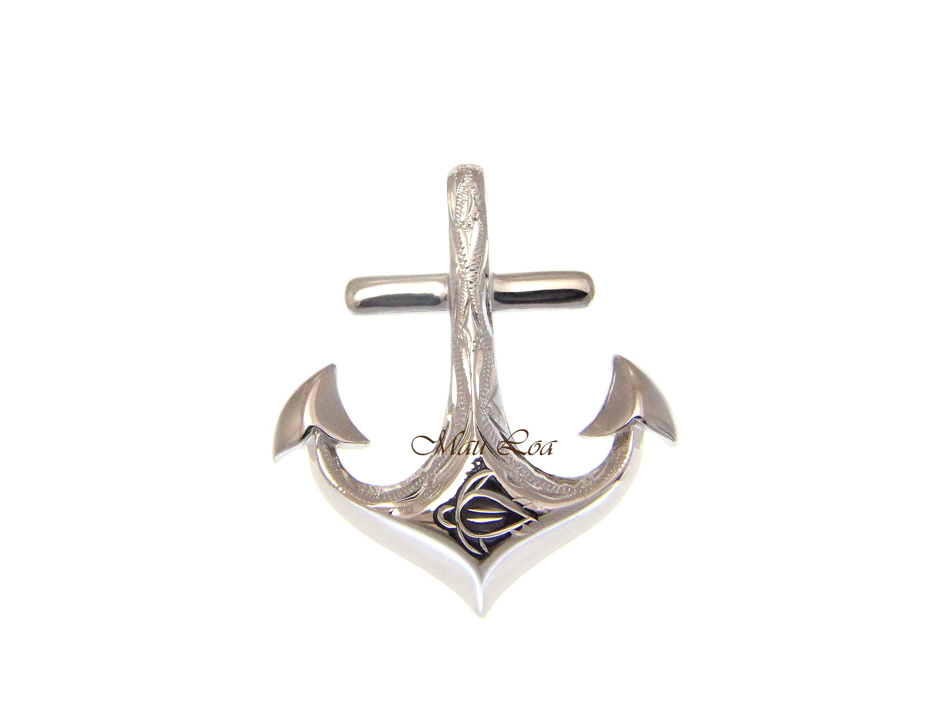 925 Sterling Silver Hawaiian Scroll Honu Turtle Engraved Anchor Pendant Charm