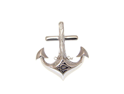 925 Sterling Silver Hawaiian Scroll Engraved Anchor Pendant Charm