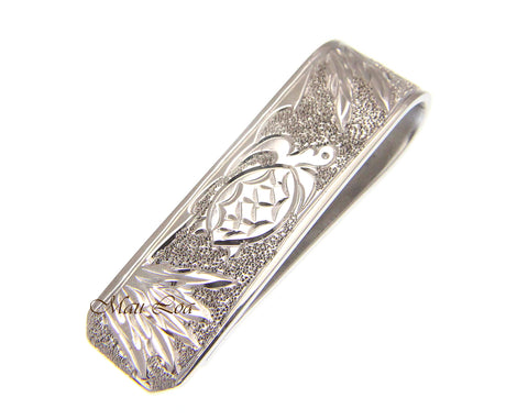 925 Sterling Silver Rhodium Hawaiian Honu Turtle 12.5mm Money Clip Cash Holder