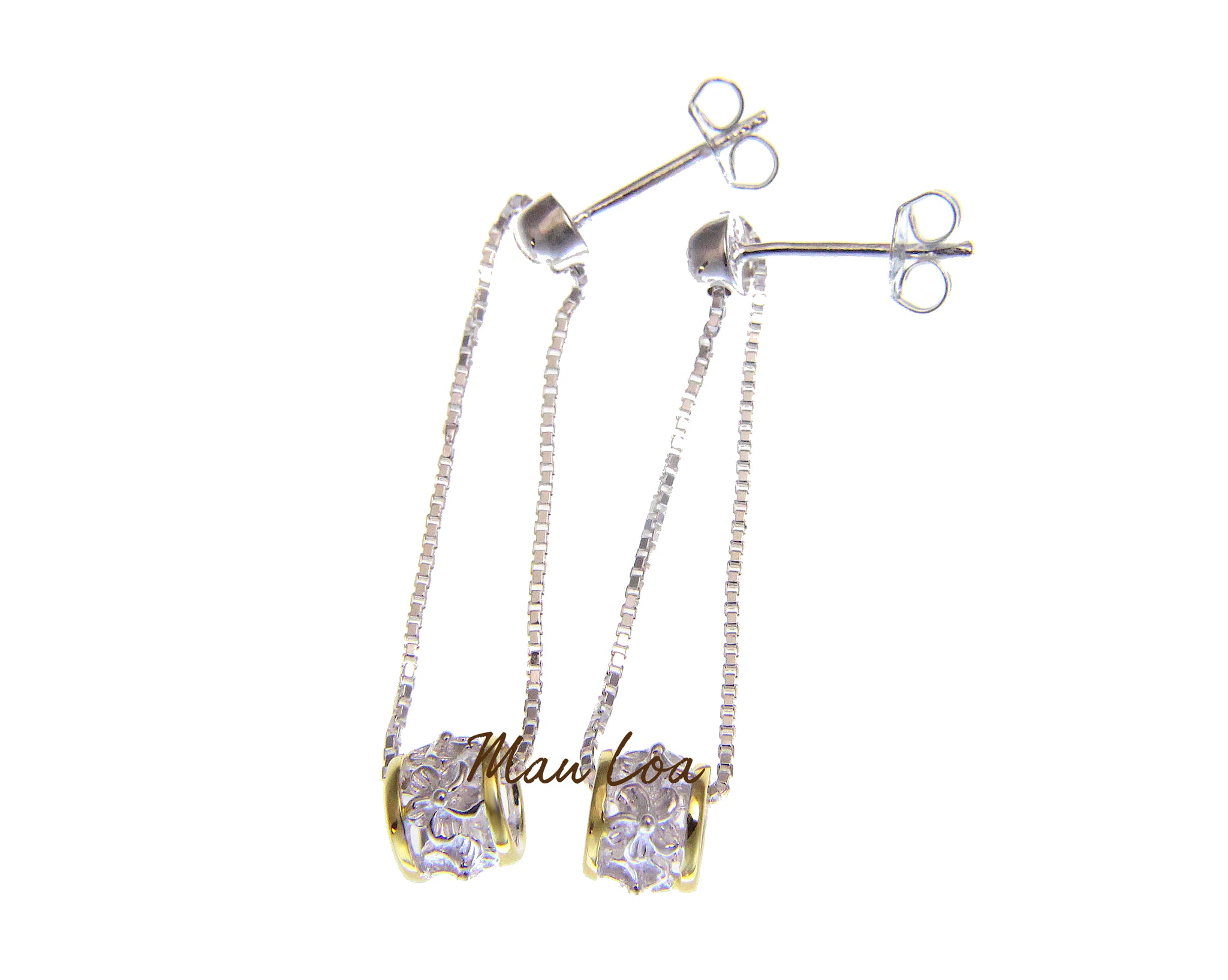 925 Sterling Silver Yellow Gold Plated 2 tone Hawaiian Plumeria Flower Barrel Dangle Post Earrings