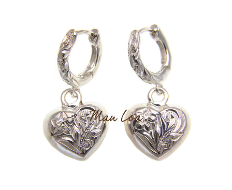 925 Sterling Silver Hawaiian Plumeria Flower Scroll on Heart Dangle Hoop Earring