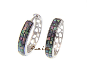925 Sterling Silver Hawaiian Abalone Shell Paua Circle Round Hoop Earrings