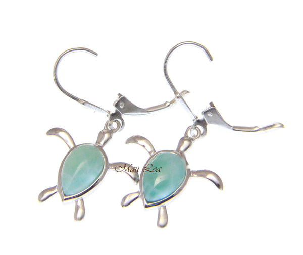 925 Sterling Silver Natural Larimar Hawaiian Honu Turtle Leverback Earrings