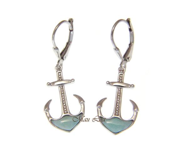 925 Sterling Silver Natural Larimar Hawaiian Anchor Leverback Dangle Earrings