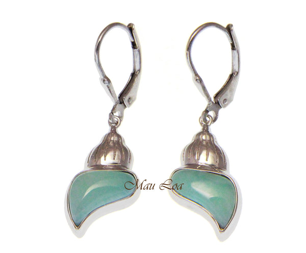 925 Sterling Silver Natural Larimar Hawaiian Conch Shell Leverback Earrings