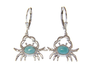 925 Sterling Silver Hawaiian Crab Natural Blue Larimar Leverback Earrings