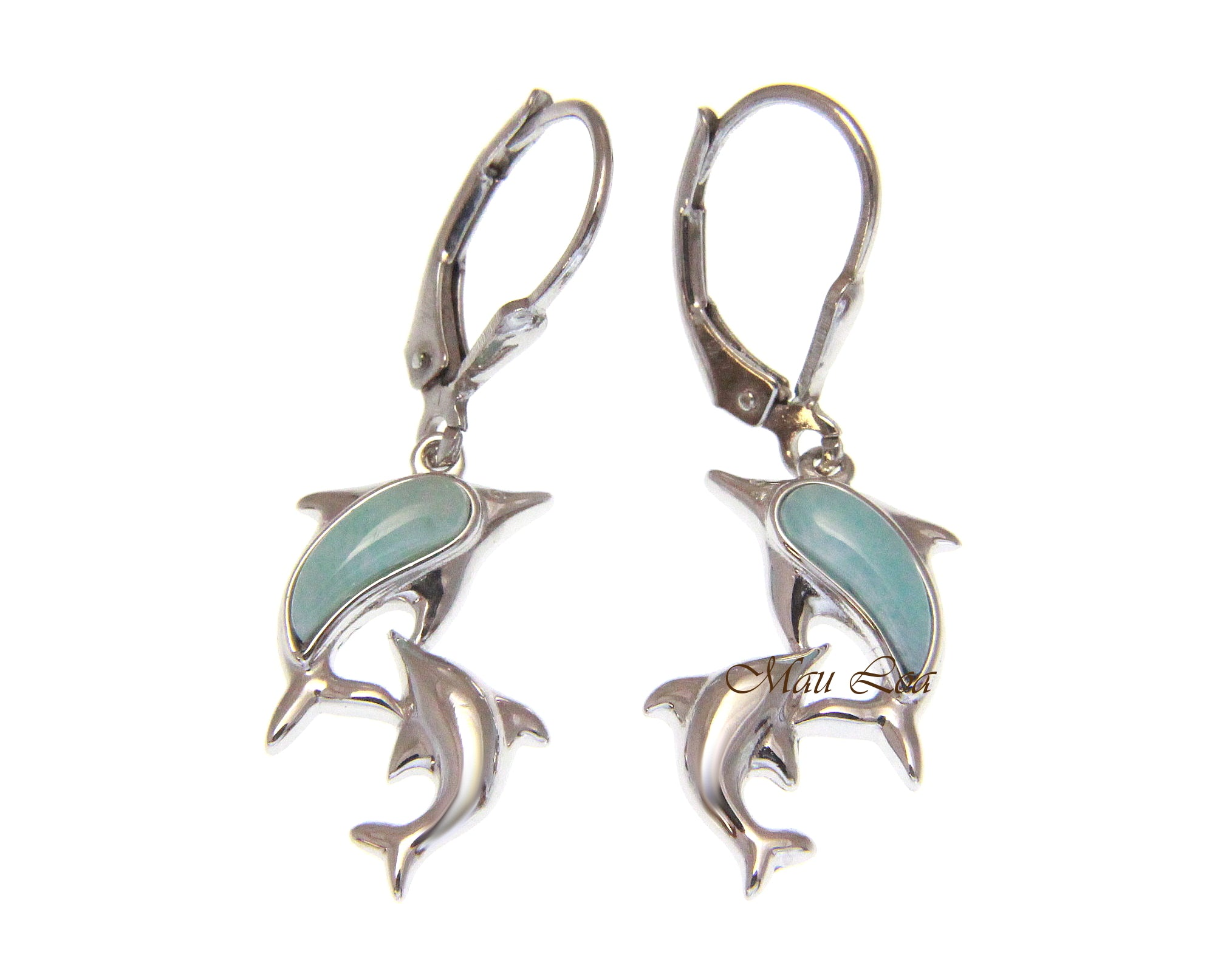 925 Sterling Silver Natural Larimar Hawaiian Double Dolphin Leverback Earrings