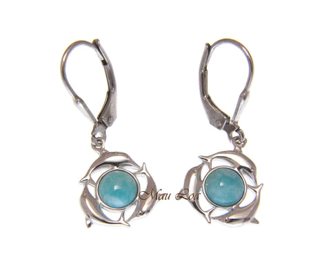 925 Sterling Silver Hawaiian Dolphin Natural Larimar Leverback Earrings
