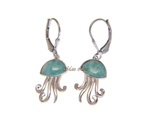 925 Sterling Silver Hawaiian Jellyfish Natural Blue Larimar Leverback Earrings