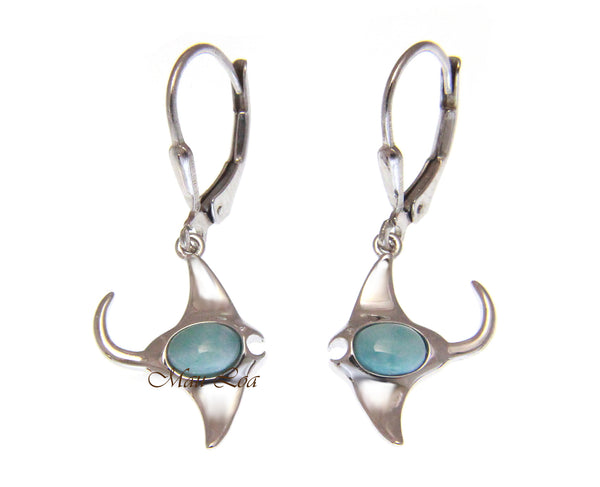 925 Sterling Silver Natural Larimar Hawaiian Manta Ray Fish Leverback Earrings