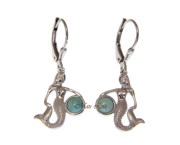925 Sterling Silver Hawaiian Mermaid Natural Blue Larimar Leverback Earrings