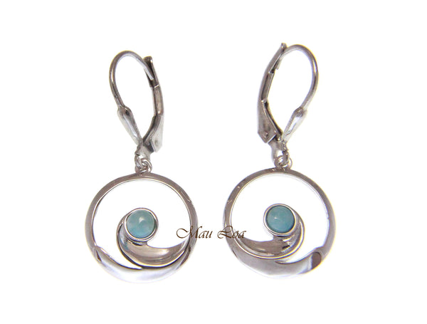 925 Sterling Silver Hawaiian Ocean Wave Natural Blue Larimar Leverback Earrings