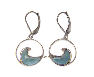 925 Sterling Silver Natural Larimar Hawaiian Ocean Wave Leverback Earrings