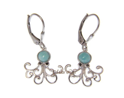 925 Sterling Silver Natural Larimar Hawaiian Octopus CZ Eye Leverback Earrings