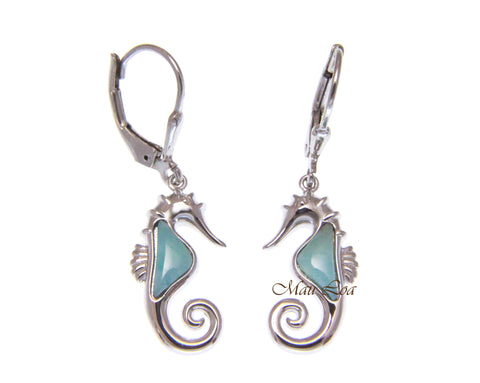 925 Sterling Silver Hawaiian Seahorse Natural Larimar Leverback Dangle Earrings