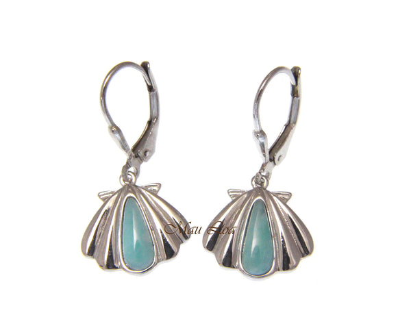 925 Sterling Silver Natural Larimar Hawaiian Sunrise Shell Leverback Earrings