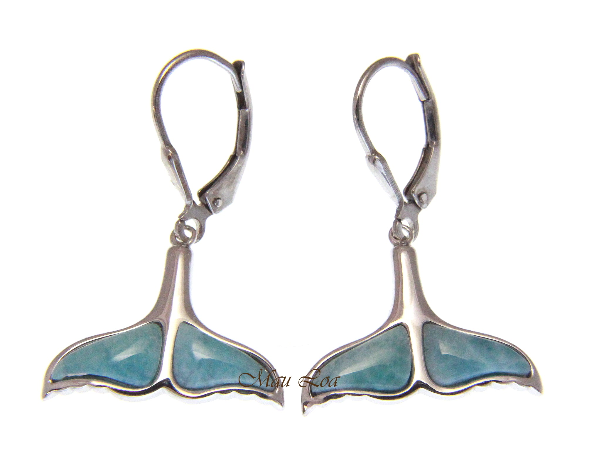 925 Sterling Silver Hawaiian Whale Tail Natural Blue Larimar Leverback Earrings