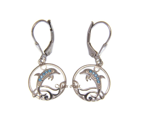 925 Sterling Silver Blue Topaz Hawaiian Dolphin Ocean Wave Leverback Earrings