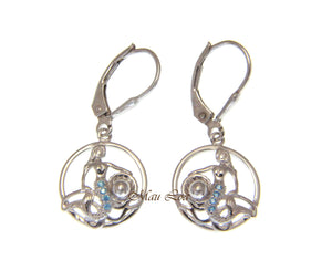 925 Sterling Silver Blue Topaz Hawaiian Mermaid Pearl Shell Leverback Earrings