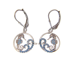 925 Sterling Silver Blue Topaz Hawaiian Seahorse Ocean Wave Wire Hook Earrings