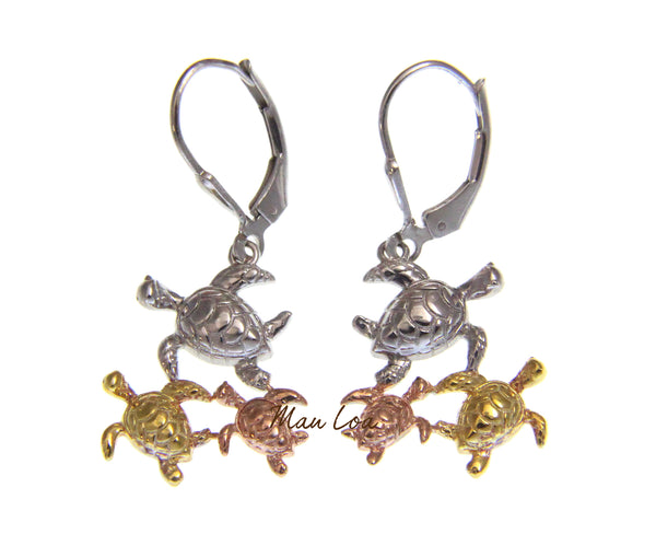 925 Sterling Silver Hawaiian Tricolor Plated Turtle Honu Leverback Earrings