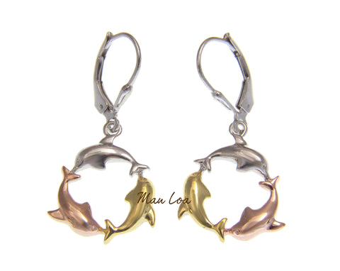 925 Sterling Silver Hawaiian Tricolor Plated Dolphin Leverback Earrings