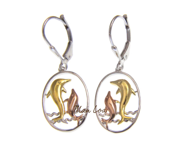 925 Sterling Silver Hawaiian Tricolor Dolphin in Oval Wave Leverback Earrings