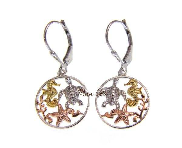 925 Silver Hawaiian Tricolor Turtle Seahorse Starfish Circle Leverback Earrings