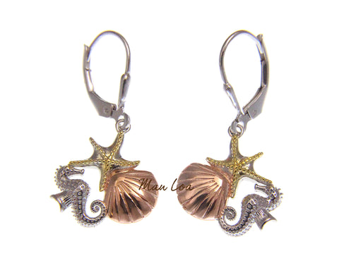 925 Sterling Silver Hawaiian Tricolor Starfish Shell Seahorse Leverback Earrings