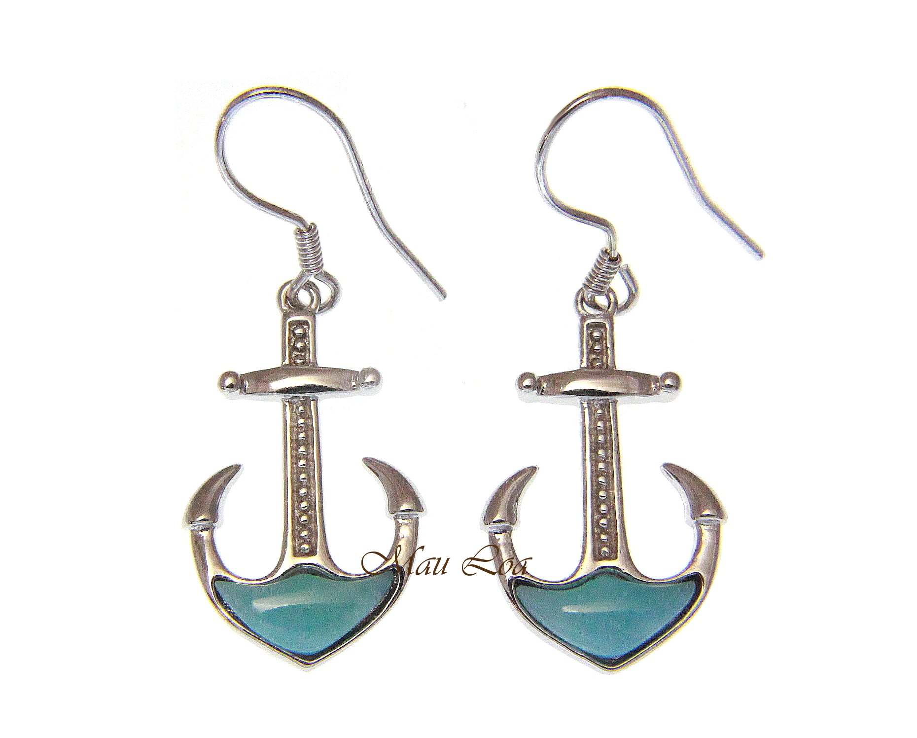 925 Sterling Silver Natural Blue Larimar Hawaiian Anchor Hook Dangle Earrings