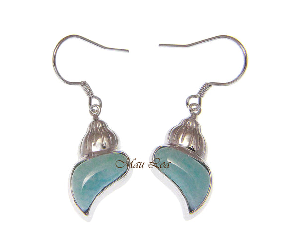 925 Sterling Silver Natural Larimar Hawaiian Conch Shell Hook Dangle Earrings
