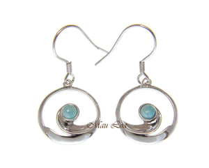 925 Sterling Silver Hawaiian Ocean Wave Natural Larimar Hook Dangle Earrings